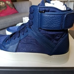 BNWB Gucci Guccissima high top sneakers blue sz 9.